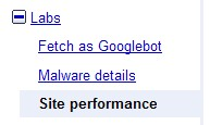 Google Webmaster Performance tab